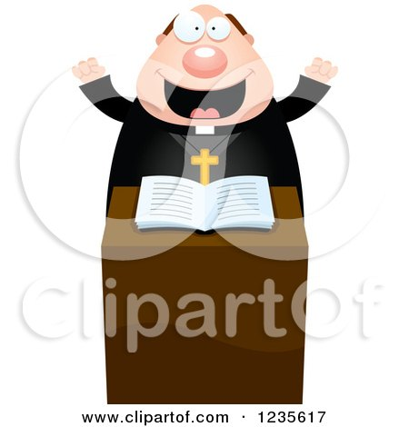 Clipart of an Enthusiastic Chubby Priest at the Pulpit - Royalty Free Vector Illustration by Cory Thoman