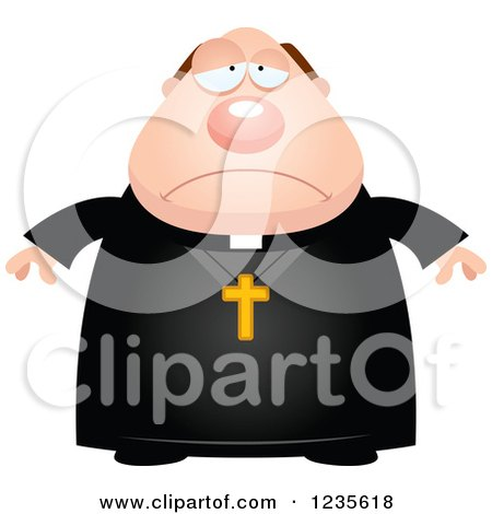 Clipart of a Depressed Chubby Priest - Royalty Free Vector Illustration by Cory Thoman