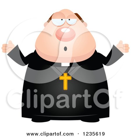 Clipart of a Careless Shrugging Chubby Priest - Royalty Free Vector Illustration by Cory Thoman
