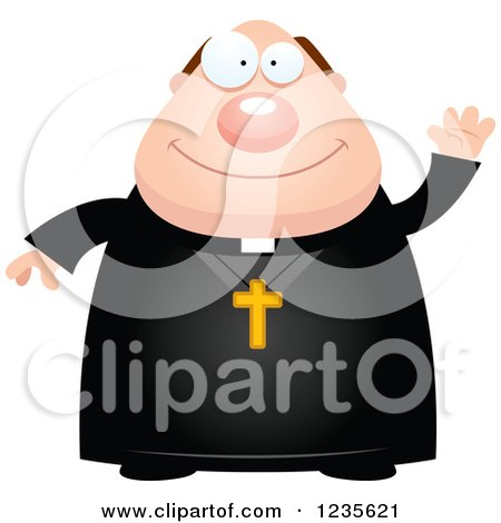 Clipart of a Friendly Waving Chubby Priest - Royalty Free Vector Illustration by Cory Thoman