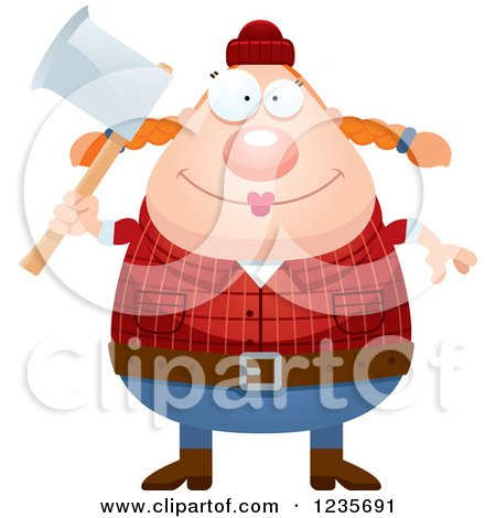 Clipart of a Chubby Female Lumberjack Holding an Axe - Royalty Free Vector Illustration by Cory Thoman