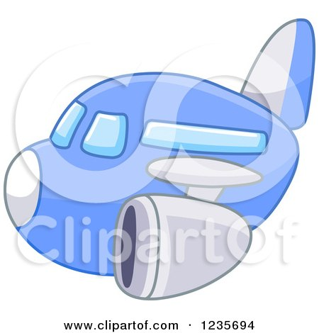 Clipart of a Cute Blue Commercial Airliner Plane - Royalty Free Vector Illustration by yayayoyo
