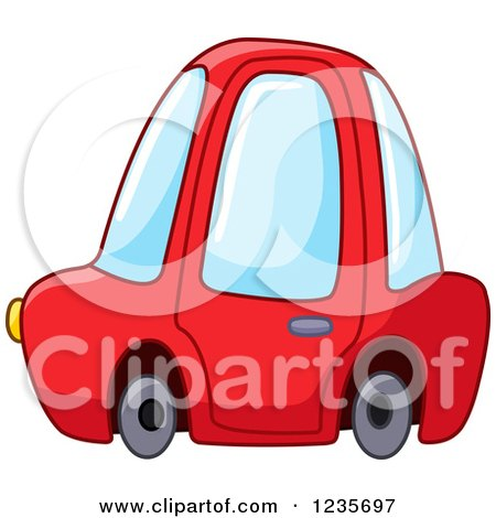 Clipart of a Cute Red Compact Car - Royalty Free Vector Illustration by yayayoyo