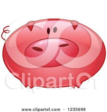 Clipart of a Cute Reflective Pink Pig - Royalty Free Vector Illustration by yayayoyo