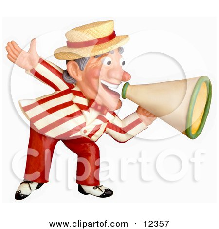Clay Sculpture Clipart Carnival Barker Announcing With A Megaphone - Royalty Free 3d Illustration  by Amy Vangsgard