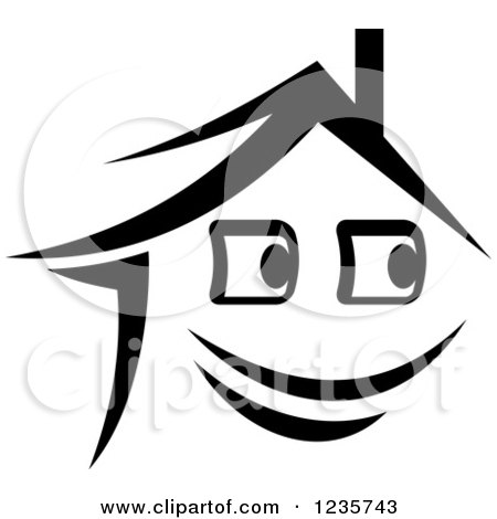 Clipart of a Black and White Happy Home Character 2 - Royalty Free Vector Illustration by Vector Tradition SM