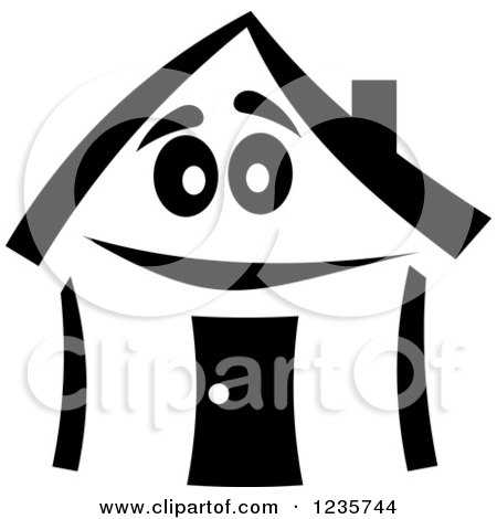 Clipart of a Black and White Happy Home Character 3 - Royalty Free Vector Illustration by Vector Tradition SM
