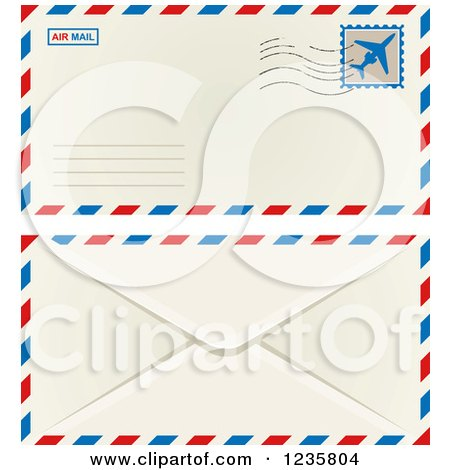 Clipart of an International Mail Envelope Shown Front and Back - Royalty Free Vector Illustration by Vector Tradition SM