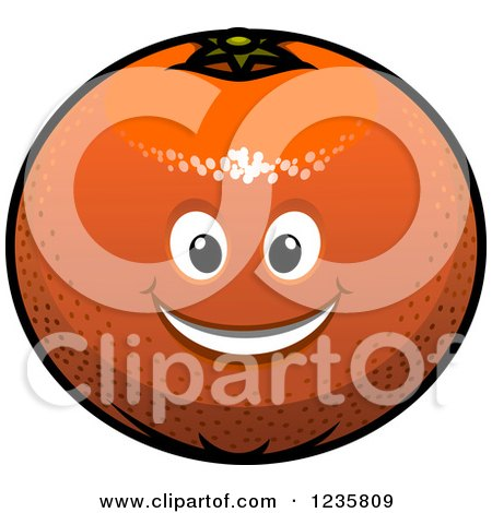 Clipart of a Smiling Orange Character - Royalty Free Vector Illustration by Vector Tradition SM