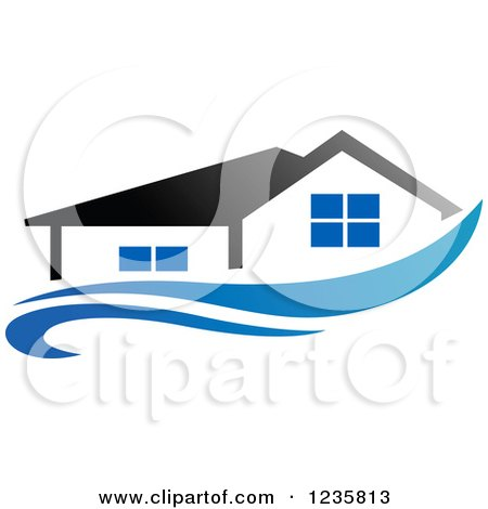Clipart of a Home over a Blue Swoosh - Royalty Free Vector Illustration by Vector Tradition SM