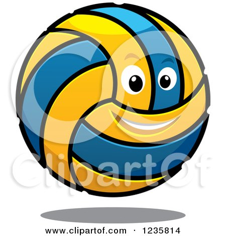Clipart of a Happy Volleyball - Royalty Free Vector Illustration by Vector Tradition SM