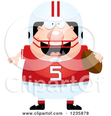 Clipart of a Caucasian Male Football Player Holding a Ball - Royalty Free Vector Illustration by Cory Thoman