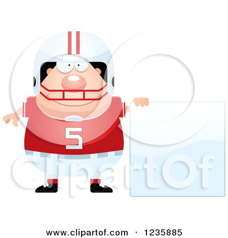 Clipart of a Caucasian Male Football Player with a Sign - Royalty Free Vector Illustration by Cory Thoman