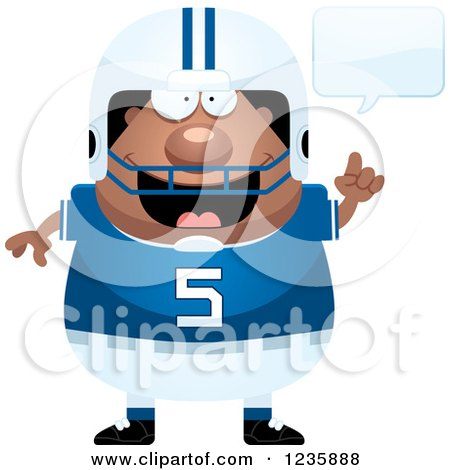 Clipart of a Talking African American Male Football Player - Royalty Free Vector Illustration by Cory Thoman
