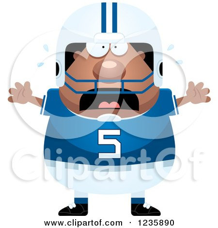 Clipart of a Scared Screaming African American Male Football Player - Royalty Free Vector Illustration by Cory Thoman