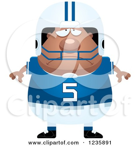 Clipart of a Depressed African American Male Football Player - Royalty Free Vector Illustration by Cory Thoman