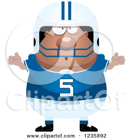 Clipart of a Careless Shrugging African American Male Football Player - Royalty Free Vector Illustration by Cory Thoman