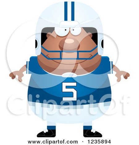 Clipart of a Happy African American Male Football Player - Royalty Free Vector Illustration by Cory Thoman
