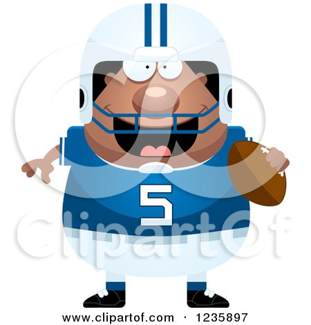 Clipart of a Happy African American Male Football Player Holding a Ball - Royalty Free Vector Illustration by Cory Thoman