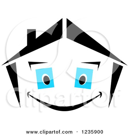 Clipart of a Black and White Happy Home Character with Blue Eyes - Royalty Free Vector Illustration by Vector Tradition SM
