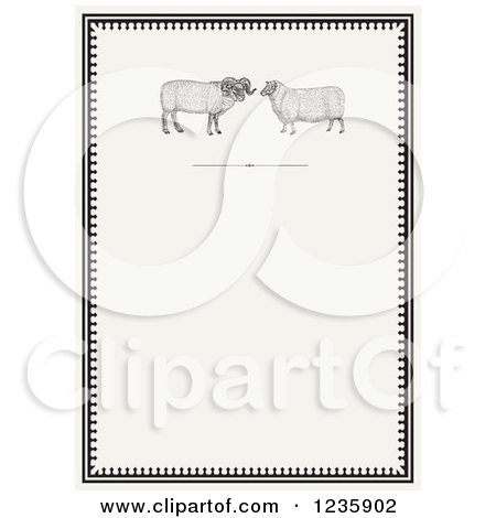 Clipart of a Vintage Invitation with a Ram and Sheep on Beige - Royalty Free Vector Illustration by BestVector
