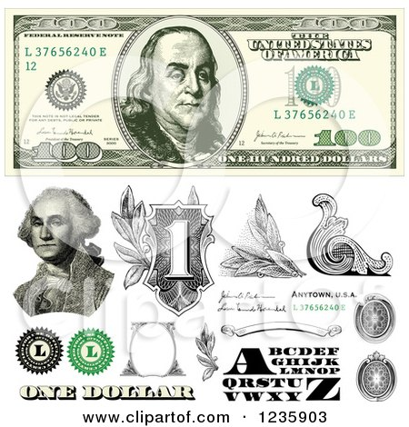 Clipart of a One Hundred Dollar Bill and Benjamin Franklin Money Design Elements - Royalty Free Vector Illustration by BestVector