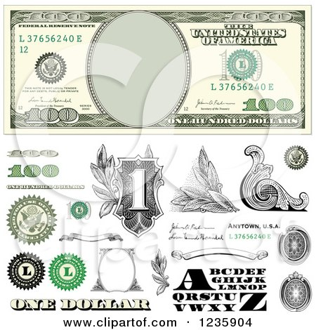 Clipart of a One Hundred Dollar Bill and Money Design Elements - Royalty Free Vector Illustration by BestVector