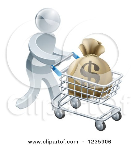 Clipart of a 3d Silver Man Pushing a Money Bag in a Shopping Cart - Royalty Free Vector Illustration by AtStockIllustration