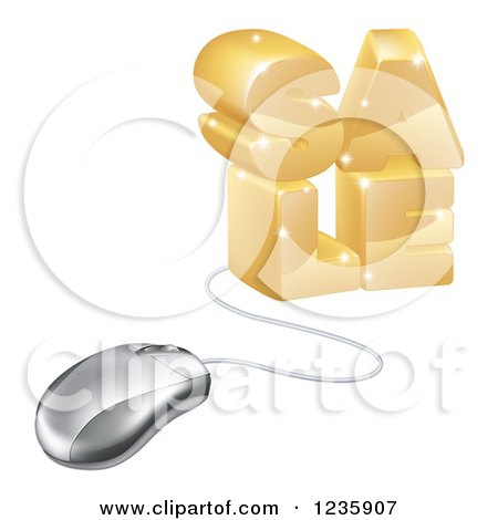 Clipart of a 3d Computer Mouse Connected to Gold SALE - Royalty Free Vector Illustration by AtStockIllustration