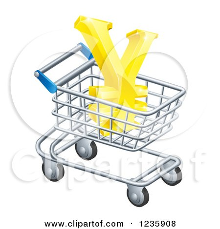 Clipart of a 3d Golden Yen with a White Outline, in a Shopping Cart - Royalty Free Vector Illustration by AtStockIllustration