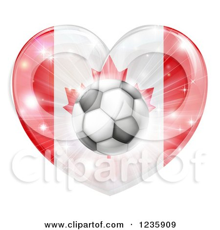Clipart of a 3d Canadian Flag Heart and Soccer Ball - Royalty Free Vector Illustration by AtStockIllustration