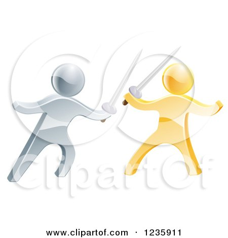 Clipart of 3d Gold and Silver Men Sword Fighting - Royalty Free Vector Illustration by AtStockIllustration