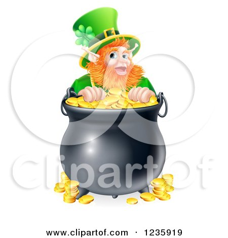 Clipart of a St Patricks Day Leprechaun Looking over a Pot of Gold Coins - Royalty Free Vector Illustration by AtStockIllustration