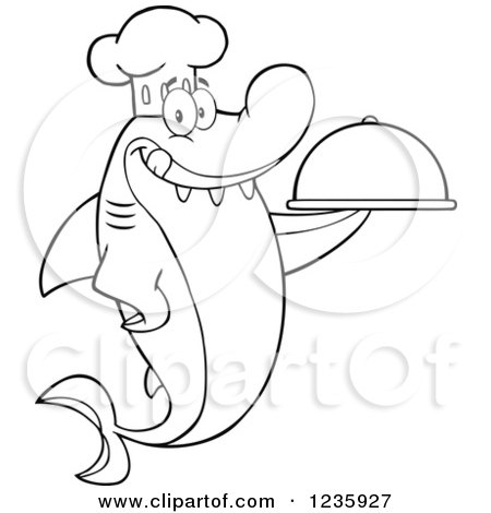 Clipart of a Black and White Shark Chef Character Holding a Platter - Royalty Free Vector Illustration by Hit Toon