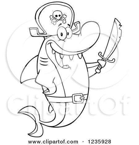Clipart of a Black and White Pirate Captain Shark Character Holding a Sword - Royalty Free Vector Illustration by Hit Toon