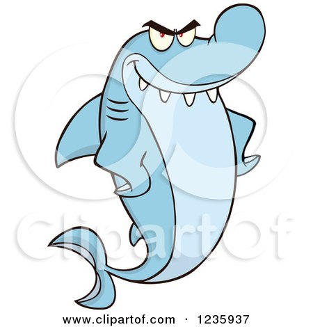 Clipart of a Mad Shark Character with Fins on His Hips - Royalty Free Vector Illustration by Hit Toon