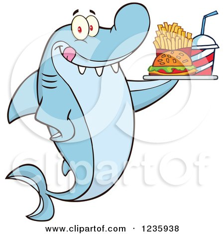 Clipart of a Hungry Shark Character with a Tray of Fast Food - Royalty Free Vector Illustration by Hit Toon