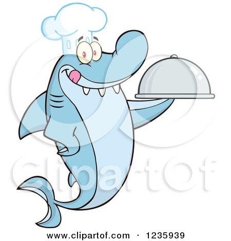 Clipart of a Shark Chef Character Holding a Platter - Royalty Free Vector Illustration by Hit Toon