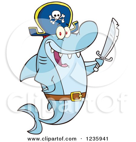 Clipart of a Pirate Captain Shark Character Holding a Sword - Royalty Free Vector Illustration by Hit Toon