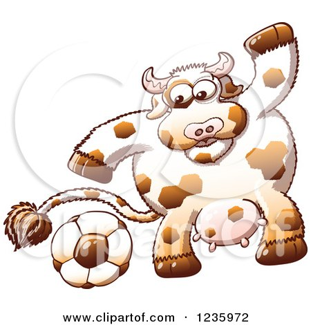 Clipart of a Sporty Cow Playing Soccer - Royalty Free Vector Illustration by Zooco