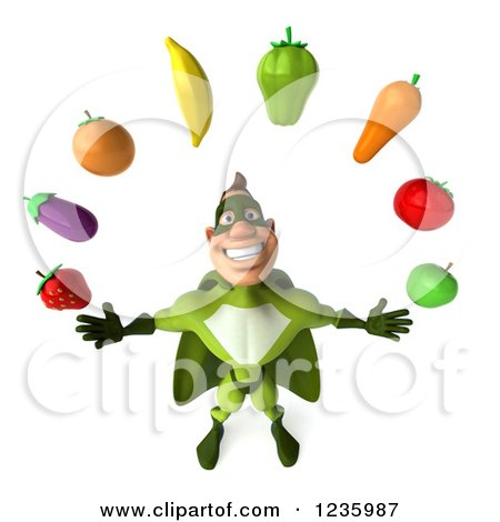 Clipart of a 3d Caucasian Green Super Hero Man Juggling Produce - Royalty Free Illustration by Julos