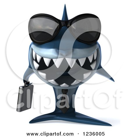Clipart of a 3d Blue Shark Business Man Wearing Sunglasses - Royalty Free Illustration by Julos