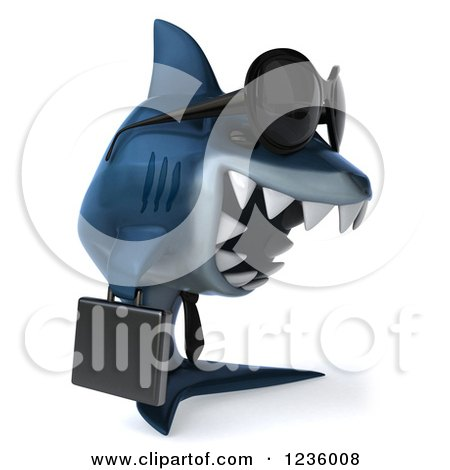 Clipart of a 3d Blue Shark Business Man Wearing Sunglasses 2 - Royalty Free Illustration by Julos