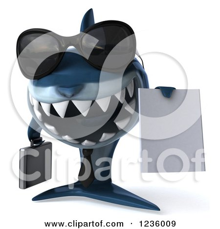 Clipart of a 3d Blue Shark Business Man Holding a Contract 2 - Royalty Free Illustration by Julos