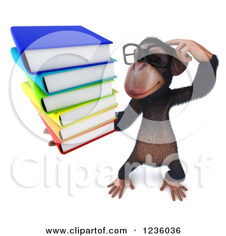 Clipart of a 3d Bespectacled Chimpanzee Monkey Thinking and Holding Books 3 - Royalty Free Illustration by Julos