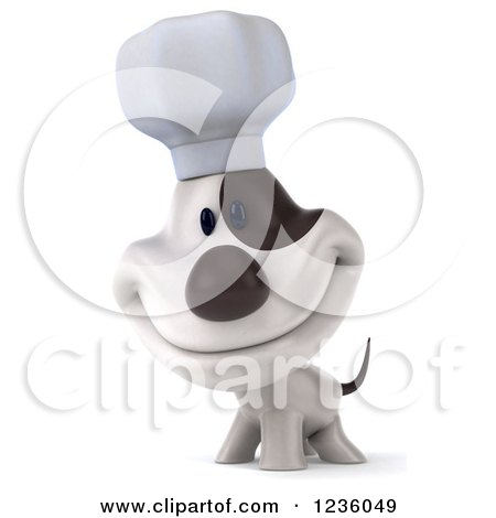 Clipart of a 3d Chef Jack Russell Terrier Dog Smiling - Royalty Free Illustration by Julos