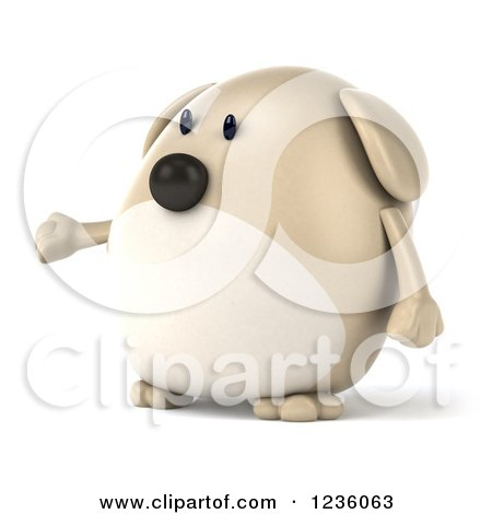 Clipart of a 3d Chubby Dog Presenting 2 - Royalty Free Illustration by Julos
