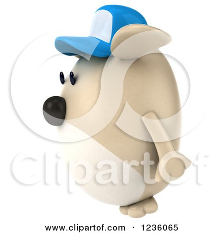 Clipart of a 3d Chubby Dog Wearing a Baseball Cap and Facing Left - Royalty Free Illustration by Julos