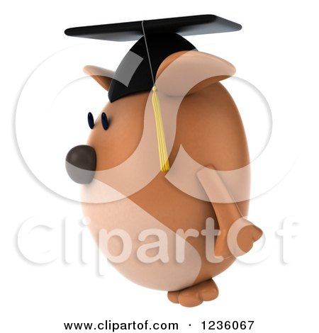 Clipart of a 3d Chubby Graduate Dog 3 - Royalty Free Illustration by Julos