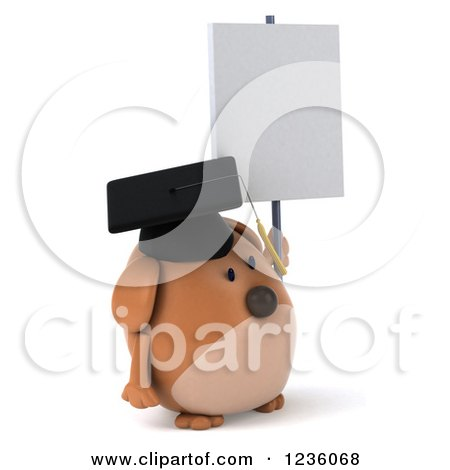 Clipart of a 3d Chubby Graduate Dog Holding up a Sign - Royalty Free Illustration by Julos